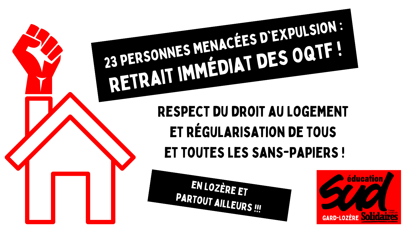 Respect du droit au logement et régularisation de tous et toutes les sans-papiers en Lozère!