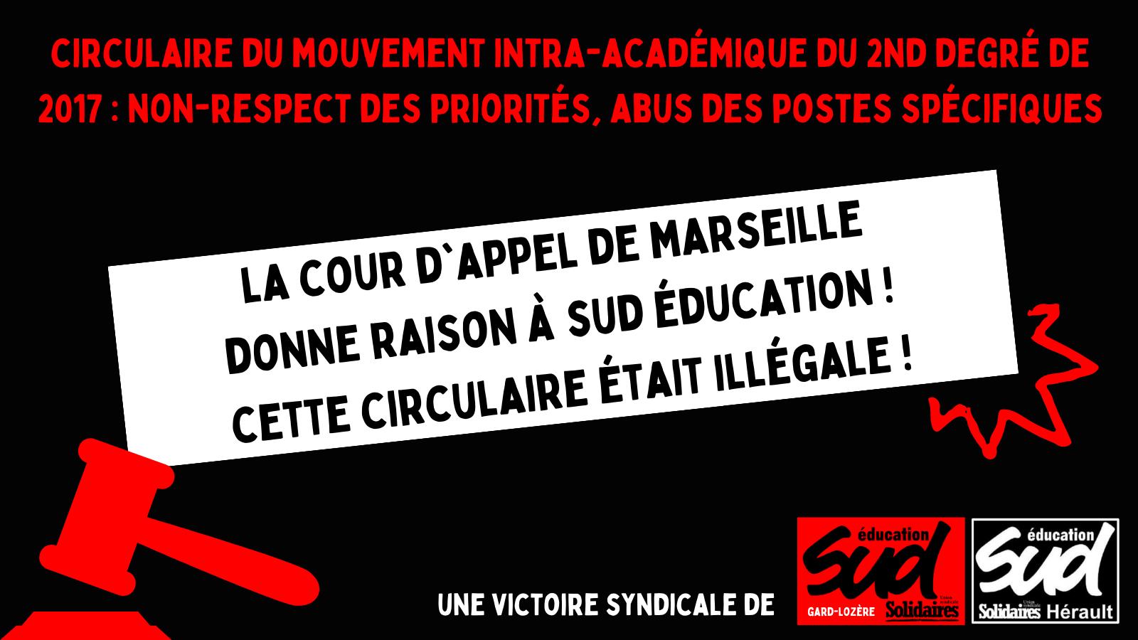 Attaque d'une circulaire du rectorat : la Cour d'appel de Marseille donne raison à SUD éducation !
