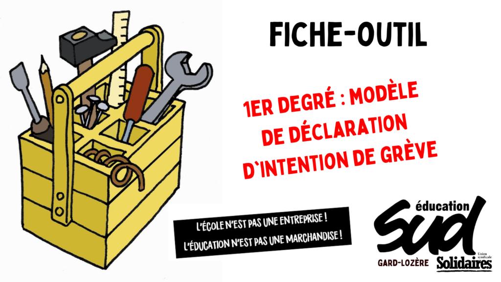 Fiche-outil / Modèle de déclaration d'intention de grève dans le 1er degré