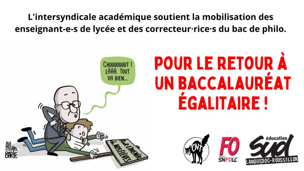 Soutien aux correctrices et correcteurs de philosophie de l'académie de Montpellier mobilisé.e.s