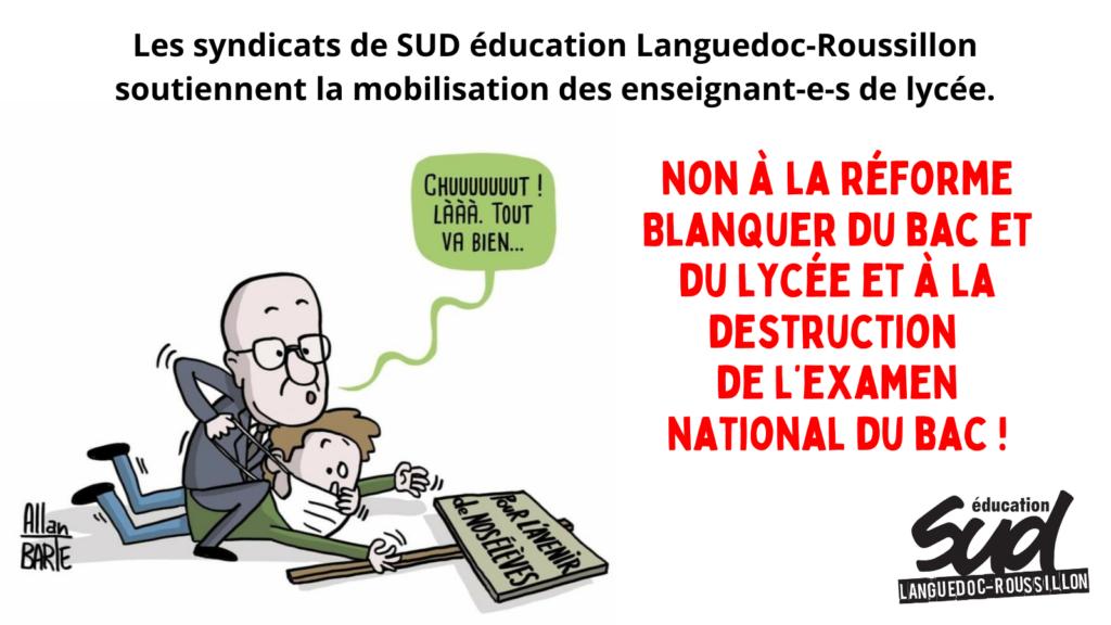 Soutien aux enseignant-e-s de lycée mobilisés contre la réforme Blanquer