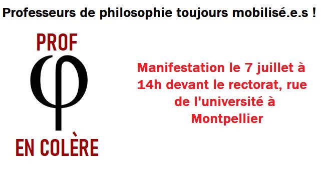 Les professeurs de philosophie de Montpellier écrivent un communiqué et appellent à un rassemblement