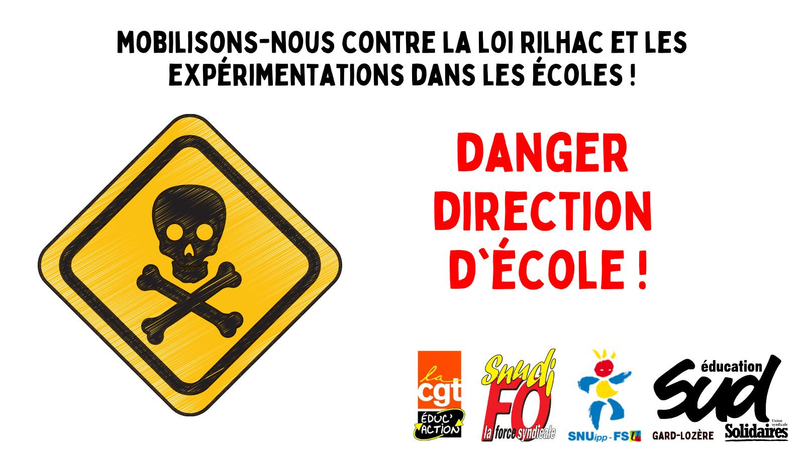 "Tract intersyndical gardois : ""DANGER direction d'école !"""